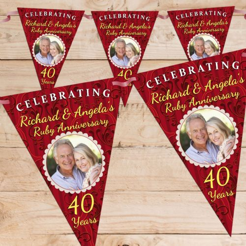 Personalised Ruby 40th Wedding Anniversary Celebration PHOTO Flag Banner Bunting - N61
